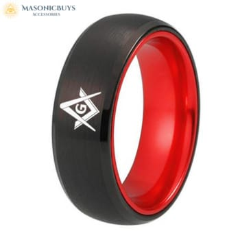 Powerful Wolfram Masonic Ring With Red Inlay