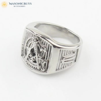 "Silvery Stainless Steel ""Master Mason"" Masonic Ring"