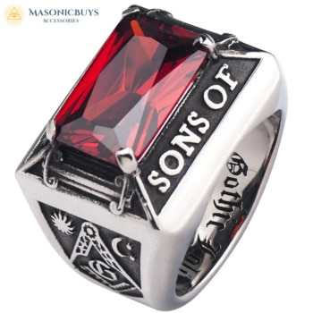 Sons Of Light Masonic Ring With Red Zircon