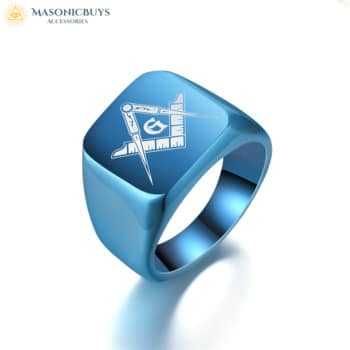 Unique Sky Blue Master Masonic Ring