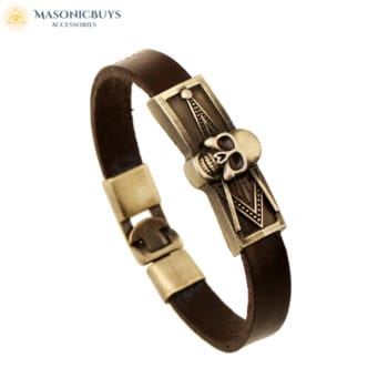 Vintage Masonic Leather Bracelet