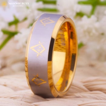 Wolfram Masonic Wedding Ring