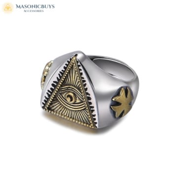 Adjustable Masonic Ring With The All-Seeing Eye, 925 Silver