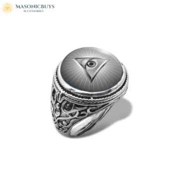 Masonic Ring With Glass Dome No.3
