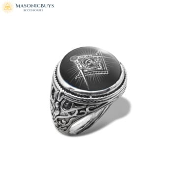 Masonic Ring With Glass Dome No.2