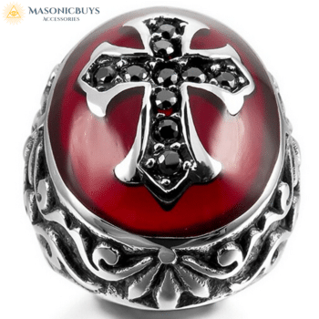 Outstanding Knights Templar Ring With Cross on Red Background