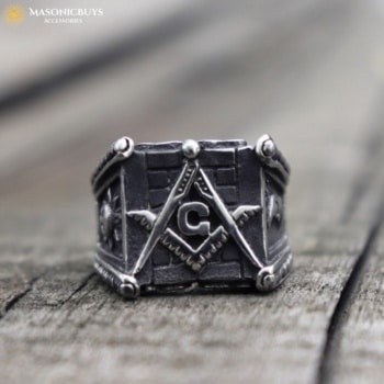 Rock Style Masonic Ring With the Sun and the Moon Symbol