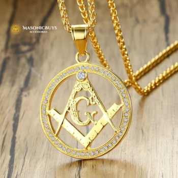 Gold Plated Masonic Pendant Necklace