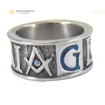 "Stainless Steel Masonic Ring With The Letters ""GEOMETRIA"""