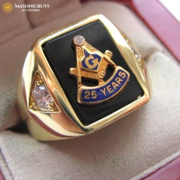 25 Years Anniversary Masonic Ring, 18K Gold Plated