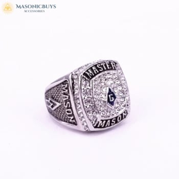 18K White Gold Plated Blue Lodge Master Mason Ring