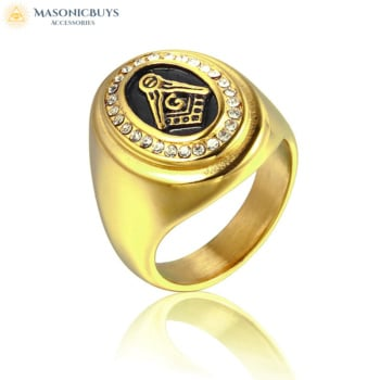 Classic Masonic Ring With Zircons