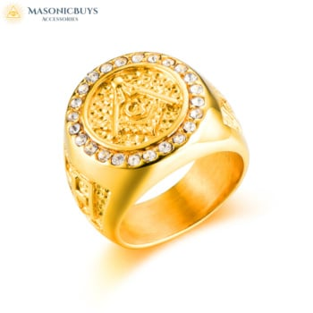 Buy Gold Masonic Ring With Rhinestones online at affordale price with FREE shipping