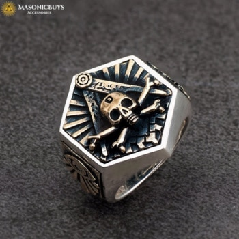 Hexagon Masonic Signet Ring With The Skull