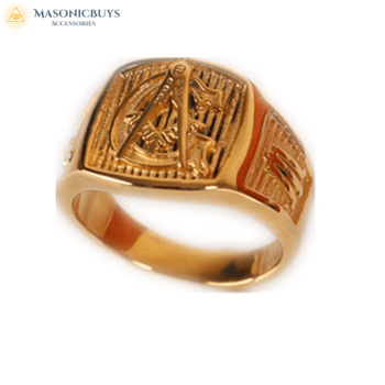 "Gold Plated Stainless Steel ""Master Mason"" Masonic Ring"
