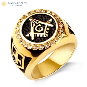 Gold Masonic Ring With Knights Templar Symbol