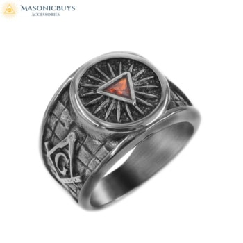 Antique Silver Masonic Ring With Red Stone