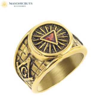 Antique Gold Masonic Ring With Red Stone