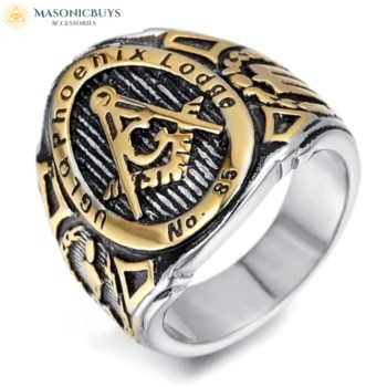 Buy Gold Color Phoenix Lodge No 85 UGLQ Masonic Ring online at affordale price with FREE shipping