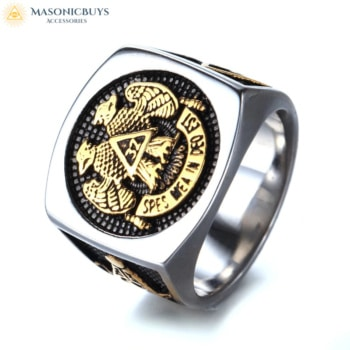 "32 degree Scottish Rite Masonic Ring With ""My Hope Is In God"" slogan"