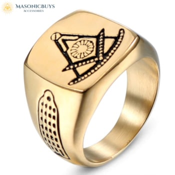 Masonic Ring With Cave Painting Style Symbols
