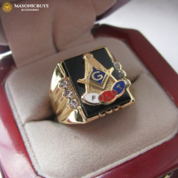 The Three Link Fraternity Masonic Ring, 18K Gold Plated