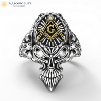 Outstanding Masonic Skull Shaped Ring