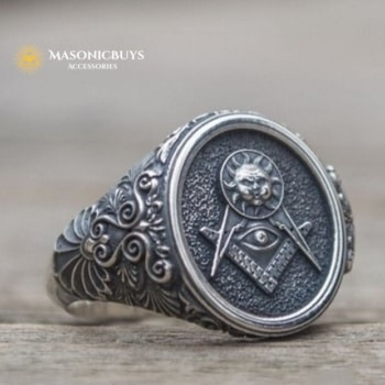 Ring With Masonic Sun, Square & Compasses and Eye of Providence