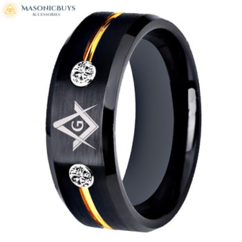 Buy Black & Gold Tungsten (Wolfram) Masonic Ring With White Stones online at affordale price with FREE shipping