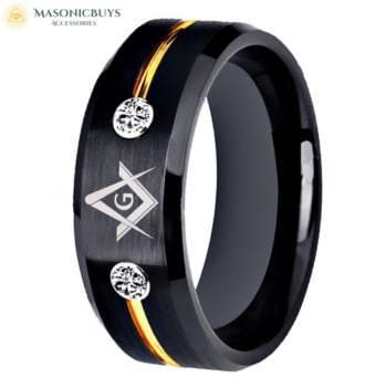 Black & Gold Tungsten (Wolfram) Masonic Ring With White Stones