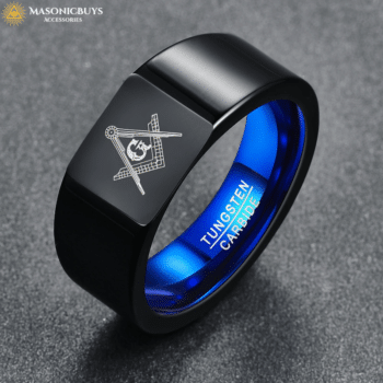 Buy Black Tungsten Carbide Masonic Ring With Blue Inner online at affordale price with FREE shipping