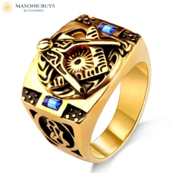 Buy Vintage Masonic Ring With Blue Stones online at affordale price with FREE shipping