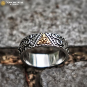 Buy Slim Vintage Masonic Ring With Eye Of Providence Symbol online at affordale price with FREE shipping