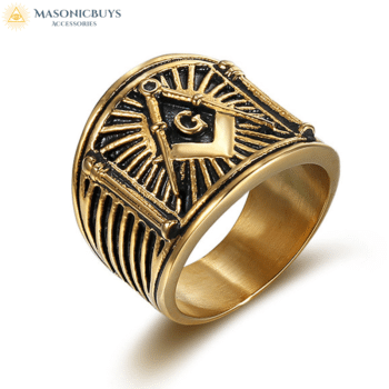 Buy Beautiful Golden Vintage Masonic Ring online at affordale price with FREE shipping