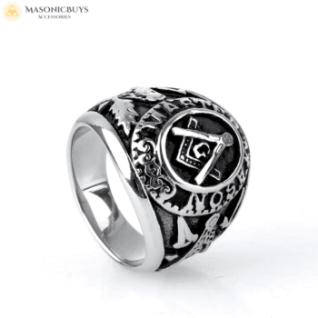 Buy Black-Silver Bumblebee Master Mason Ring online at affordale price with FREE shipping
