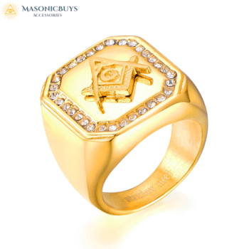 Buy Charming Masonic Ring With Eye-Catching Rhinestones online at affordale price with FREE shipping