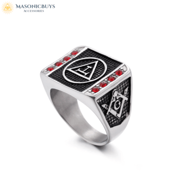 Buy Royal Arch Signet Ring With Red Stones online at affordale price with FREE shipping