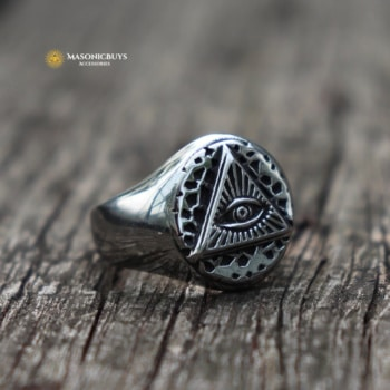 Buy Vintage Stainless Steel Eye of Providence Ring online at affordale price with FREE shipping